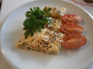Listový závin se sýrem a pórkem