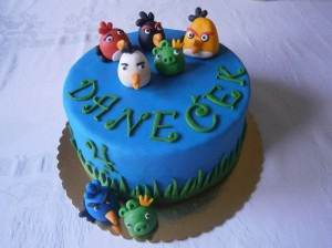Dětský dort pro Danečka s figurkami Angry Birds