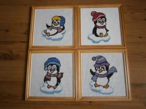 Vyšívané obrázky tučňáčků