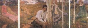 Jan Preisler - Jaro, 1900, impresionistický barevný triptych, olejomalba. Návrh na výzdobu Obecního domu v Praze.