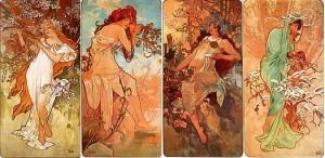 Alfons Mucha - Jaro, Léto, Podzim, Zima (1896)