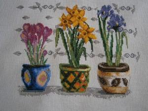 Jarní květiny za záclonou