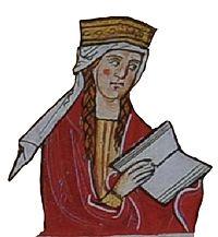 Konstancie Uherská (dobová miniatura - Žaltář Heřmana Durynského)