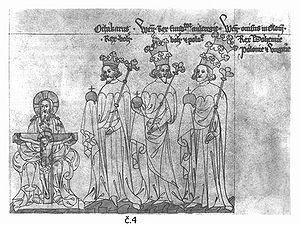 Poslední přemyslovští králové na vyobrazené ze Zbraslavské kroniky