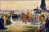 Karel IV. a Anna Svídnická vjíždějí roku 1355 do Říma