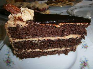 Řez kakaového dortu